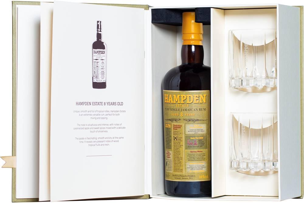 Hampden Hampden 8 ročný + 2 poháre 46% 0,7l