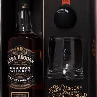 Ezra Brooks Black Label + pohár + forma na ľad 40% 0,7l