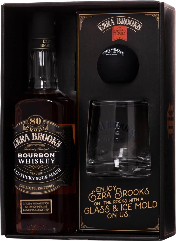 Ezra Brooks Ezra Brooks Black Label + pohár + forma na ľad 40% 0,7l