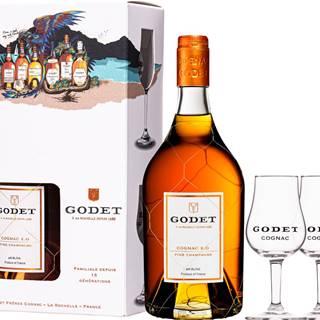 Godet XO Fine Champagne + 2 poháre
