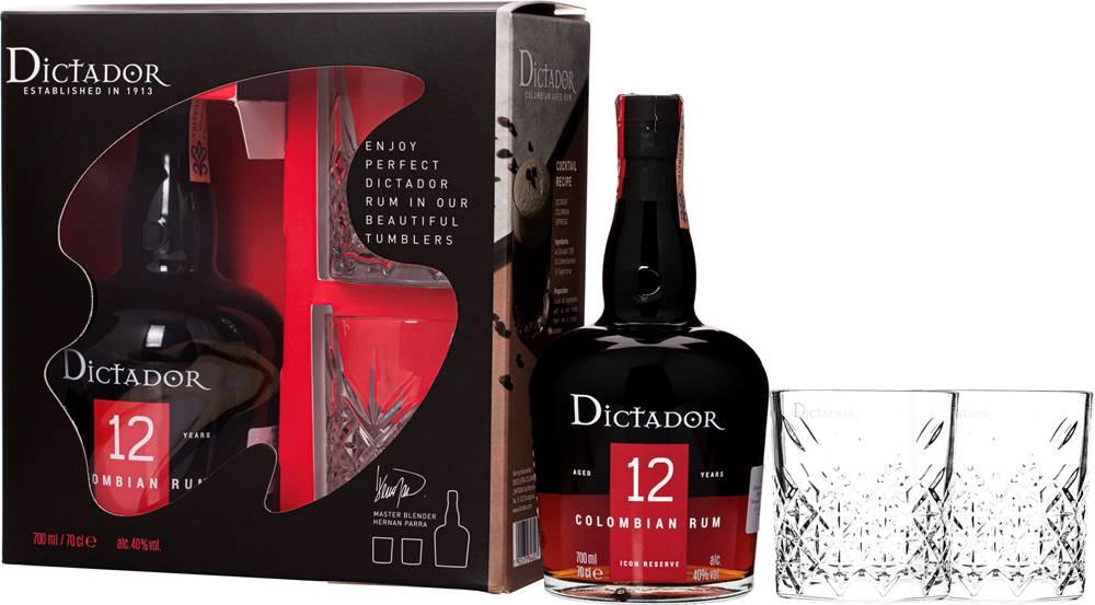 Dictador Dictador 12 ročný + 2 poháre 40% 0,7l