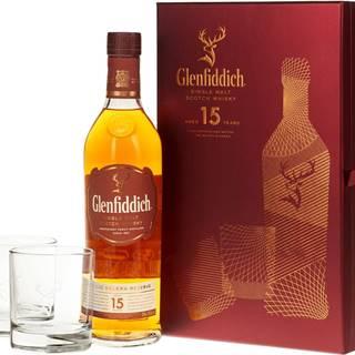 Glenfiddich 15 ročná s 2 pohármi 40% 0,7l