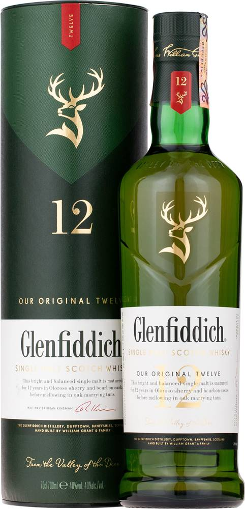 Glenfiddich 12 ročná 40% 0,7l