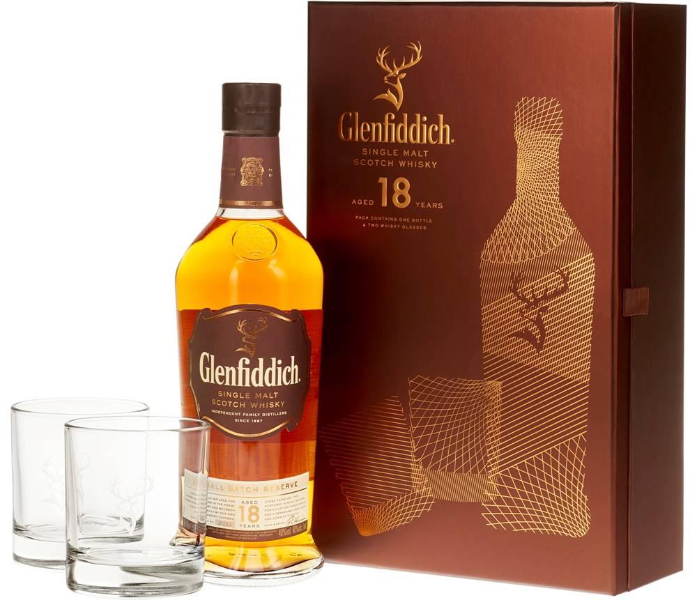 Glenfiddich Glenfiddich 18 ročná s 2 pohármi 40% 0,7l