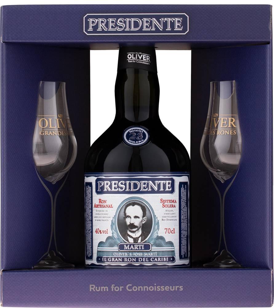 Presidente Marti Presidente Marti 23 ročný + 2 poháre 40% 0,7l