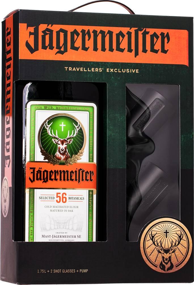 Jägermeister Jägermeister 1,75l + 2 poháre + pumpa 35%