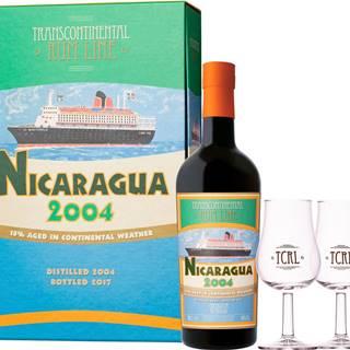 Transcontinental Rum Lime Nicaragua 2004 + 2 poháre 43% 0,7l
