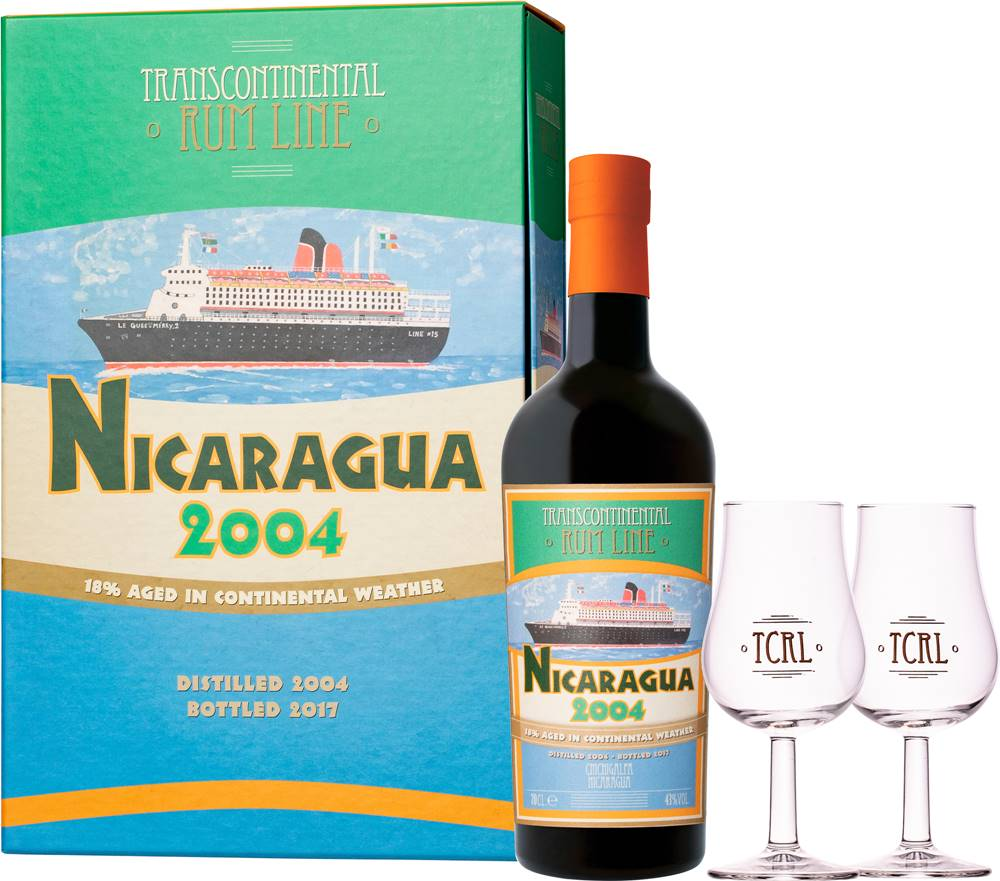 Transcontinental Rum Line Transcontinental Rum Lime Nicaragua 2004 + 2 poháre 43% 0,7l